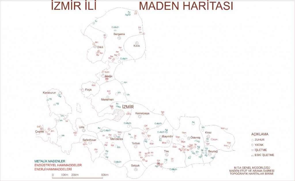 İzmir İli Maden Haritası