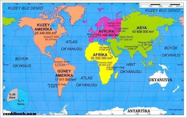 Dünyamız Haritası kıtalar