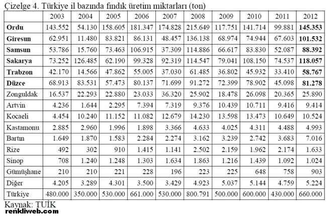 Türkiye il bazında fındık üretim miktarları (ton)