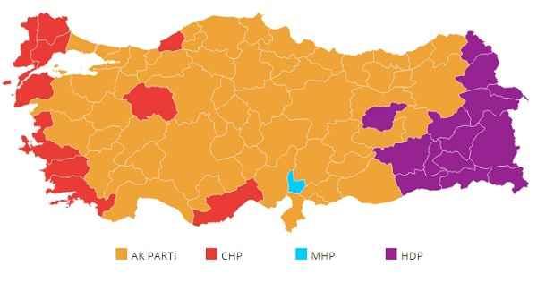 2015 seçimi illere göre kazanan partiler