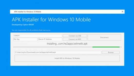 APK Installer for Windows 10 Mobile