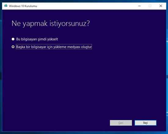 USB'ye Windows 10 indirme 1