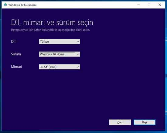 USB'ye Windows 10 indirme 2