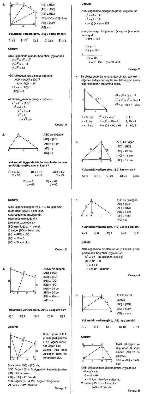 dik üçgen soruları ve cevapları