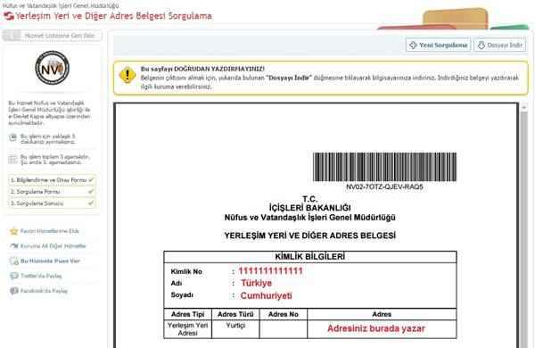 e-devlet ikametgah belgesi alma 3