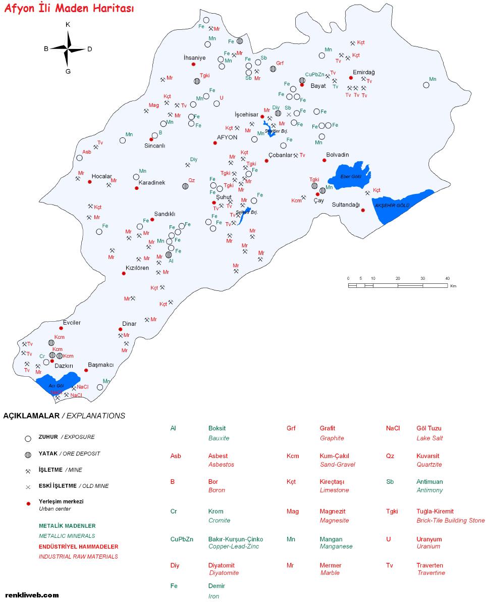 Afyon, Afyonkarahisar, maden, harita, enerji