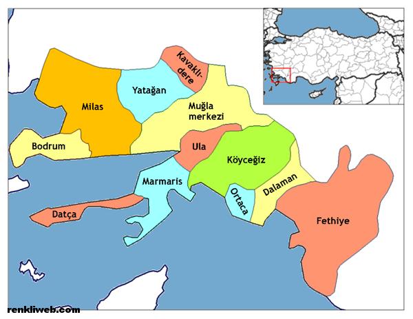 muğla, harita, il, kültür