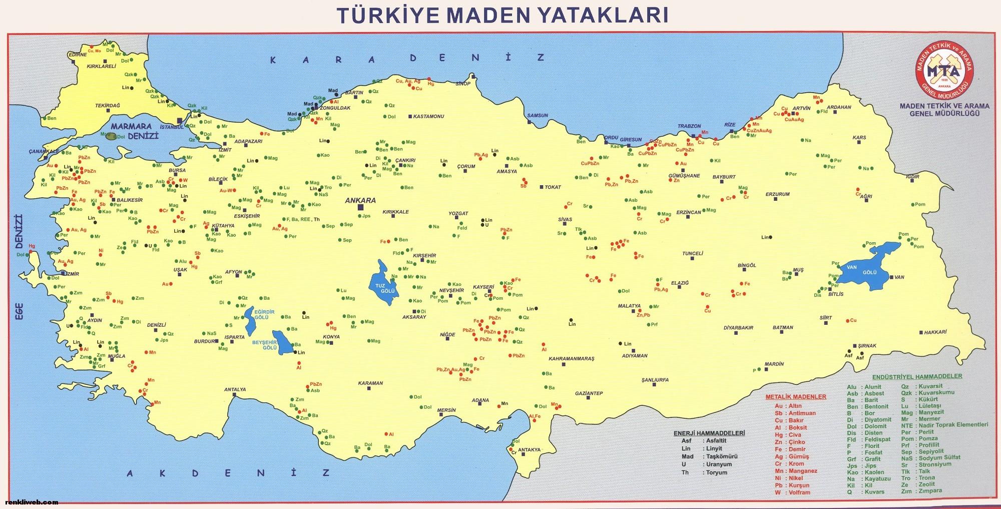 türkiye, maden haritası